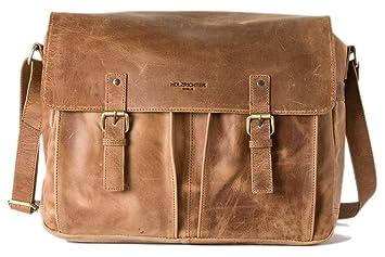 351b89412d359 HOLZRICHTER Berlin Umhängetasche (M) - Premium Lehrertasche aus Leder - Vintage  Ledertasche für Herren