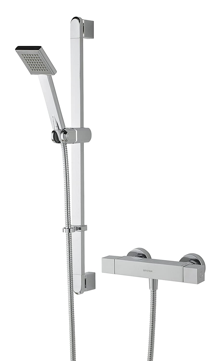 Bristan QD SHXDIVFF C Quadrato Exposed Fixed Head Bar Shower with Diverter and Kit