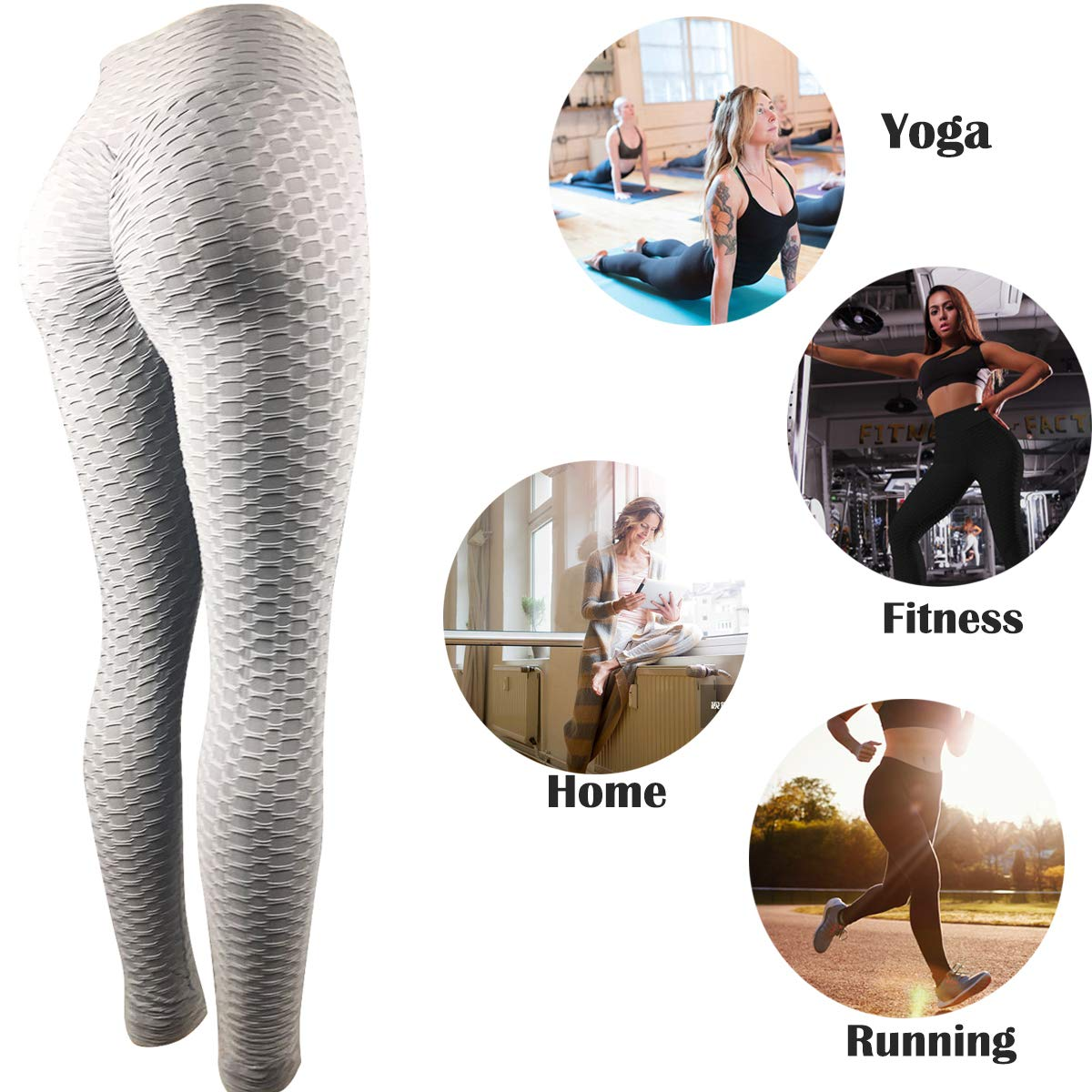 Women\'s Workout Leggings High Waist Yoga Tummy Control Booty Pants Running Butt Lift Tights Plus Size