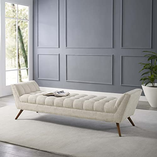 Modway Response Upholstered Fabric Bench, Loveseat, Beige