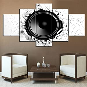 TUMOVO Rock and Roll Posters Vintage Pictures 3D Loudspeaker Paintings Bass Artwork 5 Piece Canvas Home Decor for Living Room Bedroom Office Giclee Wooden Framed Stretched Ready to Hang(60''Wx32''H)