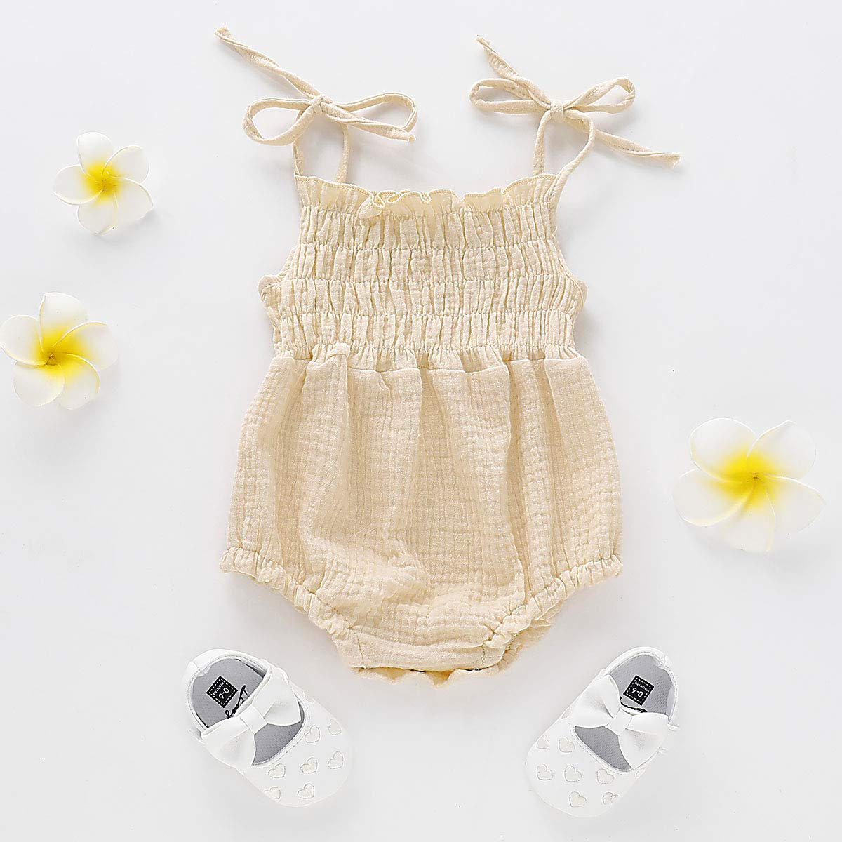 Headband ZOELNIC Baby Girls Sleeveless Romper Toddler Girl Floral Bow Halter