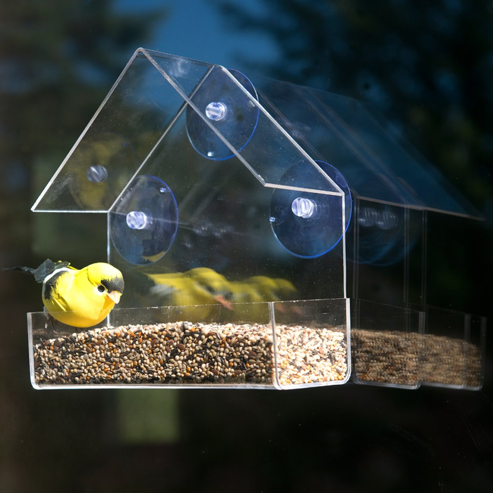 feeder house recycled bird hanging fly thru roof feeders clear birds with choice acrylic