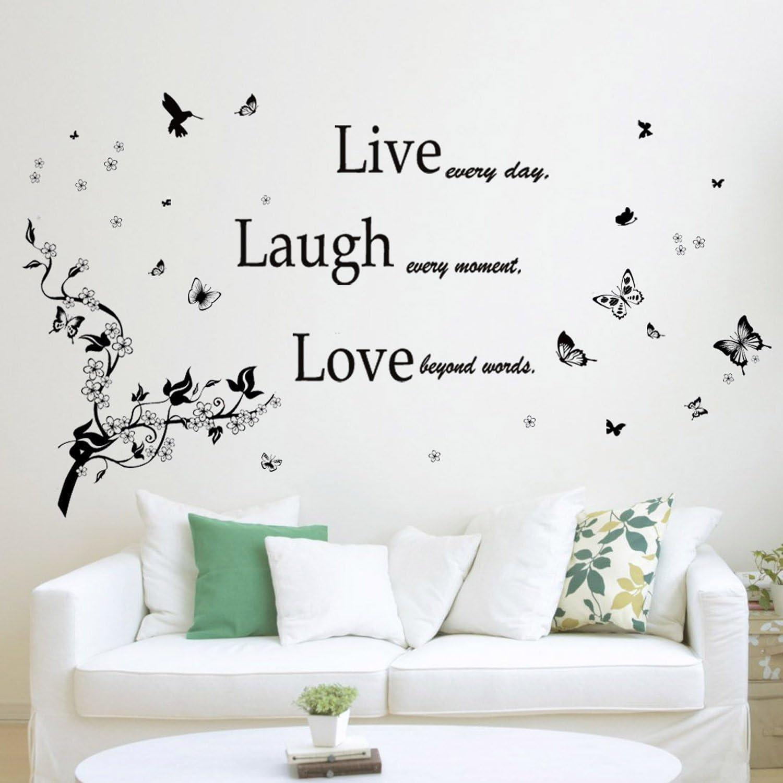 Colore: Nero Adesivo da Parete Rimovibile in Vinile Motivo Farfalle Love Laugh Ramo e Scritta Live Walplus