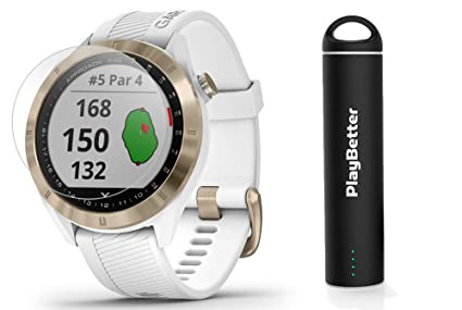 Garmin Approach S40 (White/Gold) Golf GPS Smartwatch Bundle | Includes PlayBetter Portable Charger (2200mAh) & HD Screen Protectors | Stylish, Color ...