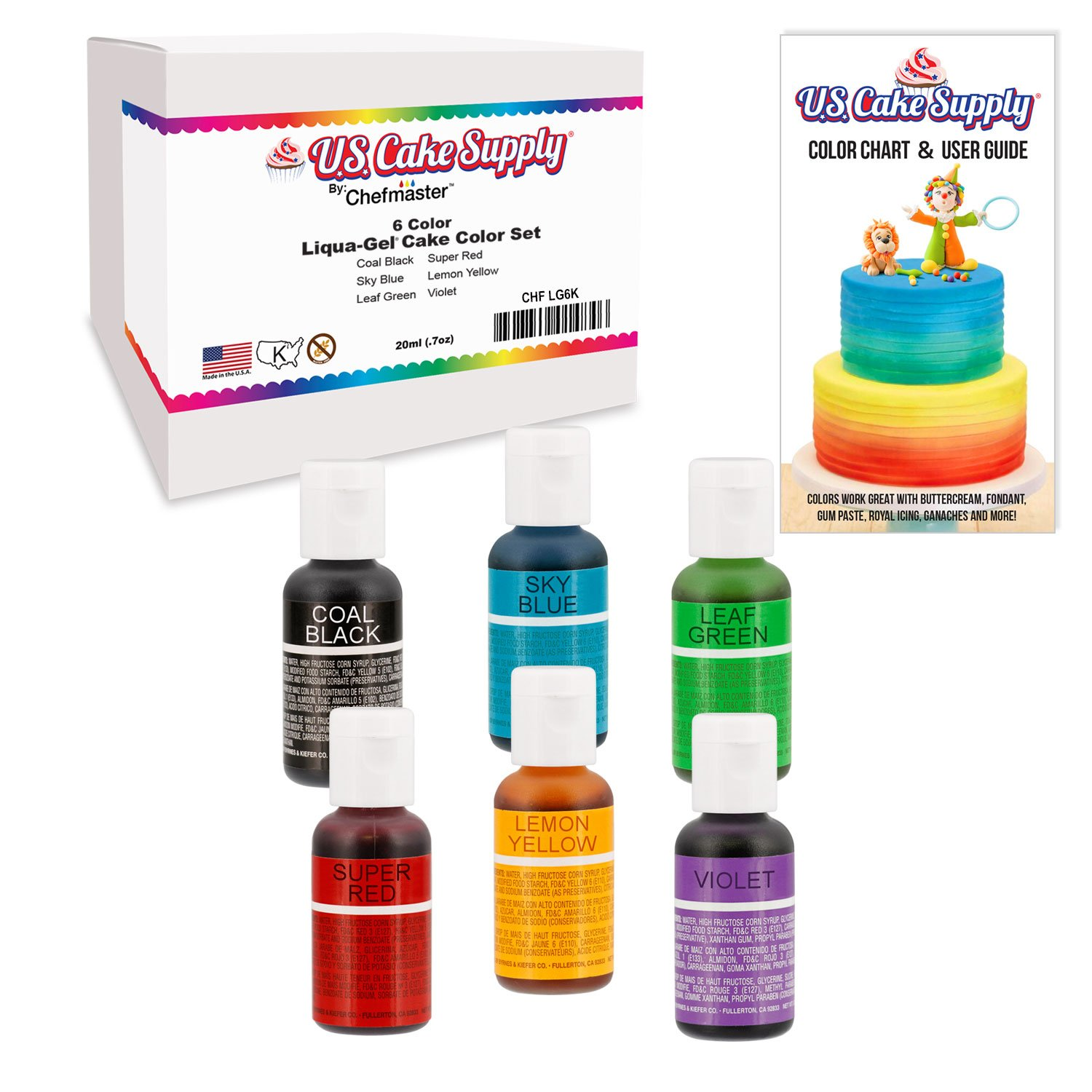 6 Food Color US Cake Supply by Chefmaster Liqua-Gel Paste Cake Food Coloring Set - The 6 Most Popular Colors in 0.75 fl. oz. (20ml) Bottles