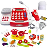 Toy Cash Register with Scanner - Microphone - Calculator - Play Pots and Pans - Cutting Play Food & Chef Hat | Play Restaurant/Grocery/Supermarket Cashier Toy