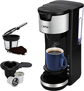 Coffee Maker, Single Serve Coffee Maker For Single Cup Pod & Coffee Ground, 30 Oz Removable Reservoir, Compact Coffee Machine Brewer with 6 to 14 oz. Brew Sizes, Black