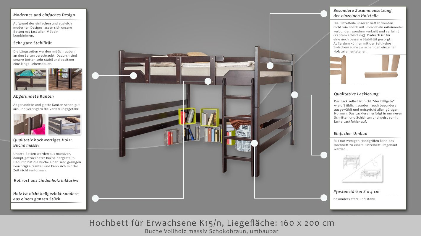 hochbett erwachsene 160x200 excellent massives hochbett kinder erwachsene leiter holz massiv. Black Bedroom Furniture Sets. Home Design Ideas