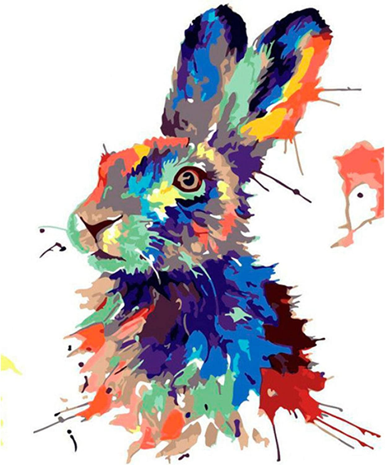 FSKJSZYH Frameless Diy Big Grey Rabbit Painting By Numbers With Acrylic Paint Kits On Canvas Draw For Coloring By Numbers Hand-Painted 40X50Cm