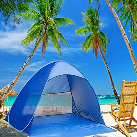 Kushina Automatic Pop Up Instant Portable Outdoors Quick Cabana Beach Tent Sun Shade Sport Shelter, Blue by Kushina: Amazon.es: Deportes y aire libre