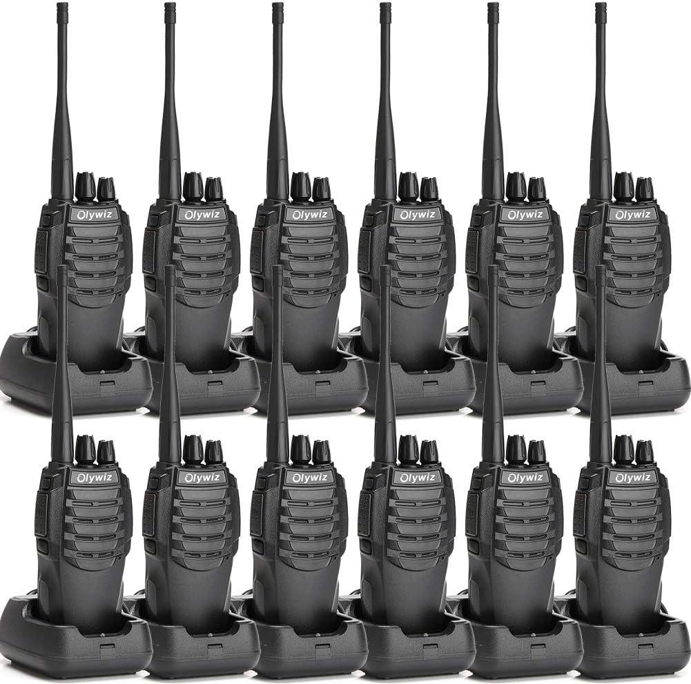 Walkie Talkies Two Way Radio Olywiz HTD826 Rechargeable Long Range 1800mAh Li-ion Battery UHF 406-470MHz 12 Pack