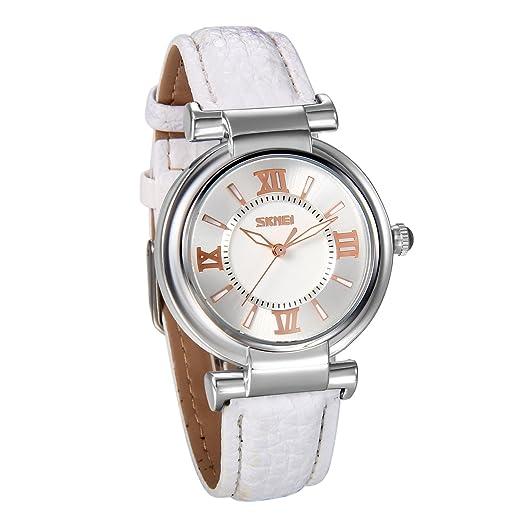 JewelryWe Reloj de Mujer Correa de Cuero Blanco, Retro Sencillo Con Números Romanos, Casual Reloj de Pulsera Cuarzo para Chicas, 3 Colores para el Verano ...