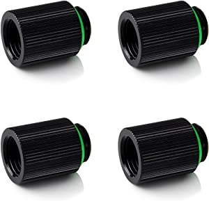 """Bitspower Touchaqua G1/4"""" Male to Female Extender Fitting, 20mm, Glorious Black, 4-Pack"""