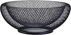 Pimuza Fruit Stand Vegetables Serving Bowls Basket Holder for Kitchen Counter Banana, Table Centerpiece, Store Display, Dining Room,Tea Bar,Tabletop,Metal Iron Wire,Large Round Modern Stylish Black