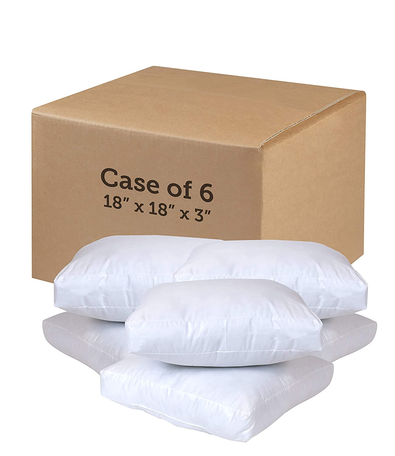 Poly-Fil A-JP183B 18' Square Seat Cushions-Case of 6, 18' x 18', White 6 Count 18 x 18 Fairfield Processing