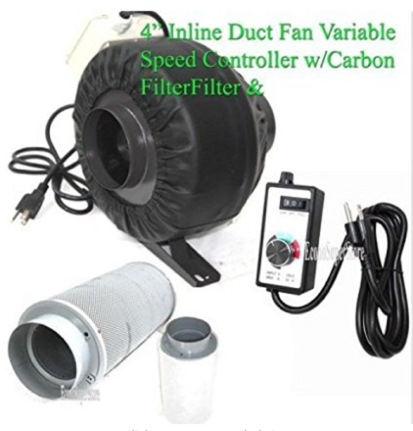 USA Premium Store 4'' Variable Speed Control Inline Hydroponic Duct Fan Blower 190CFM Carbon Filter by USA Premium Store