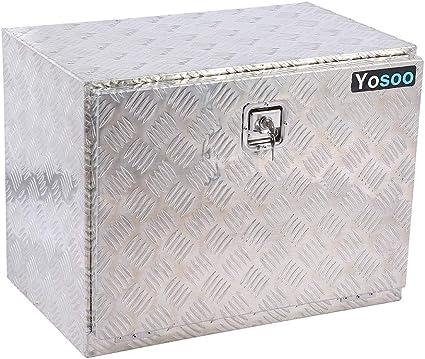 Cajas de herramientas, caja de herramientas de aluminio de 24 pulgadas, caja de almacenamiento para remolque y camión con 2 llaves: Amazon.es: Bricolaje y herramientas
