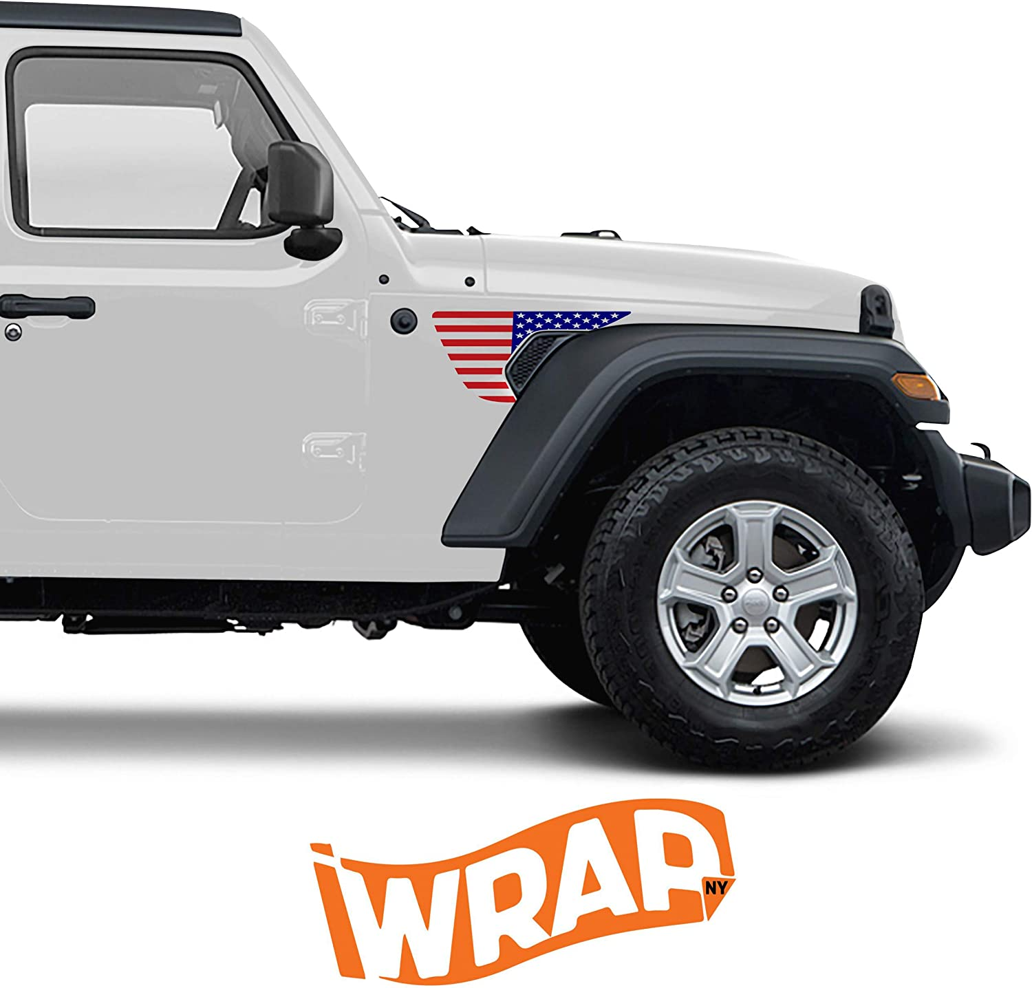 Blue-Red Precut Side Fender Vent American Flag Vinyl Decal Compatible with Jeep Wrangler JL 2018-2020 and Gladiator 2020,