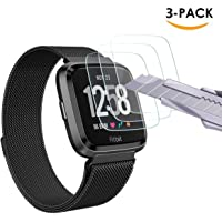 Tersely Screen Protector for Fitbit Versa, (3 Pack) Fitbit Versa 9H Hardness Tempered Glass Screen Protector Film Guard for Fitbit Versa Watch (3 Pack)