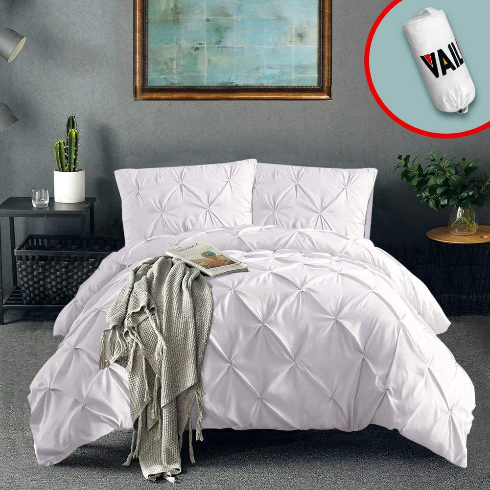 Vailge 3 Piece Pinch Pleated Duvet Cover with Zipper Closure, 100% 120gsm Microfiber Pintuck Duvet Cover, Luxurious & Hypoallergenic Pintuck Decorative (White,Twin)