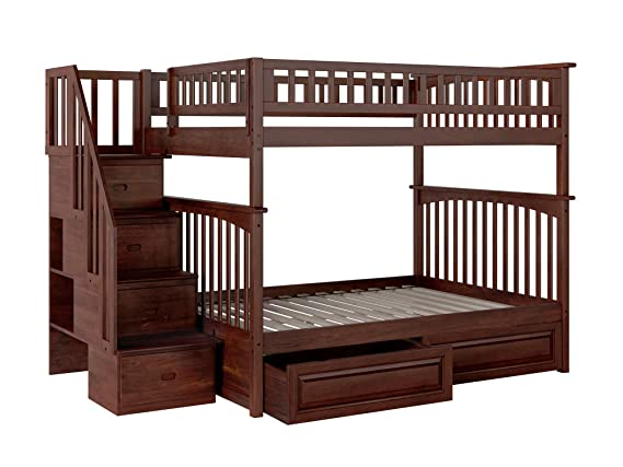 Columbia Staircase Bunk Bed with 2 Raised Panel Bed Drawers, Full Over Full, Antique Walnut