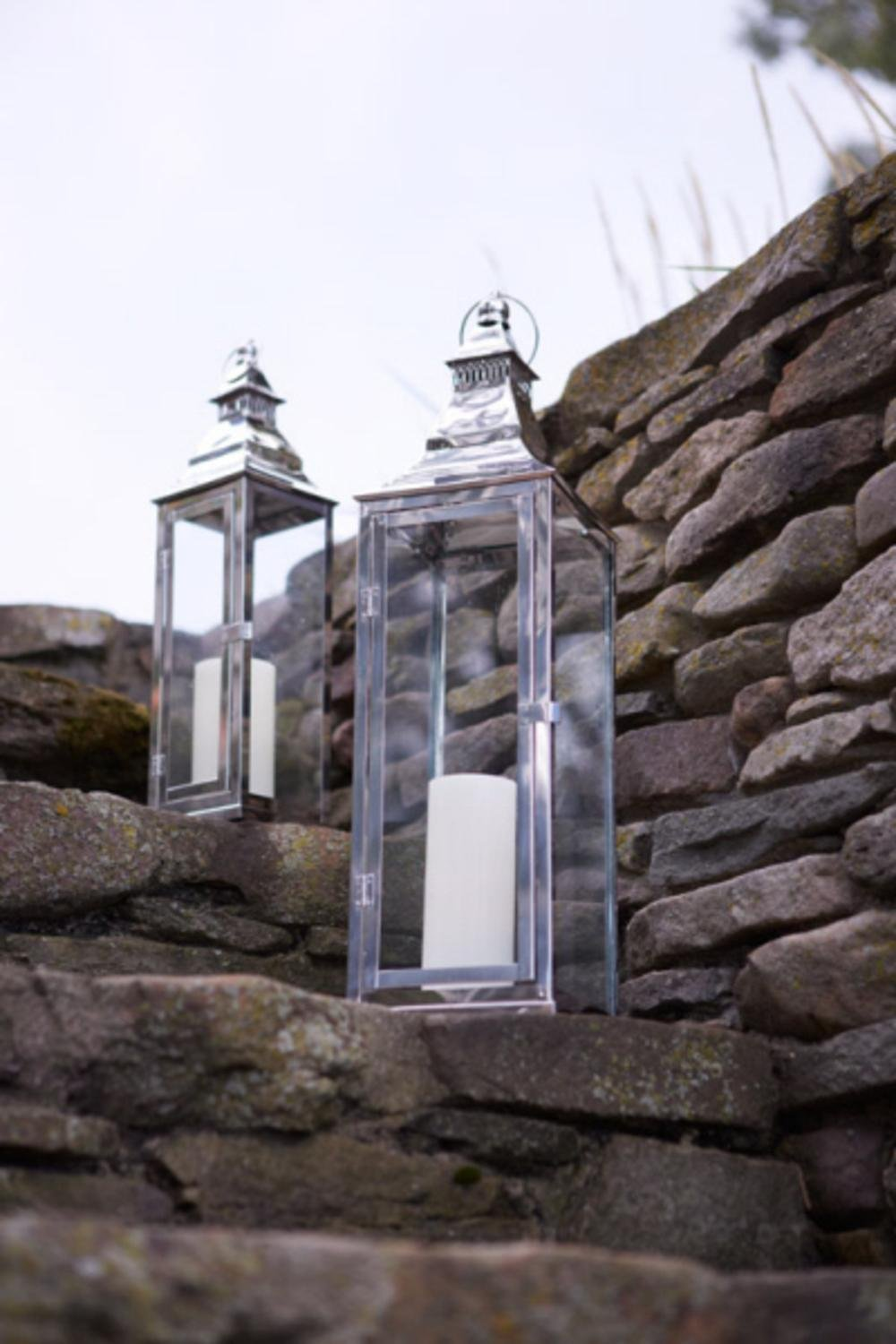 Set of 2 Modern Stainless Steel Glass Pillar Candle Lanterns 25''