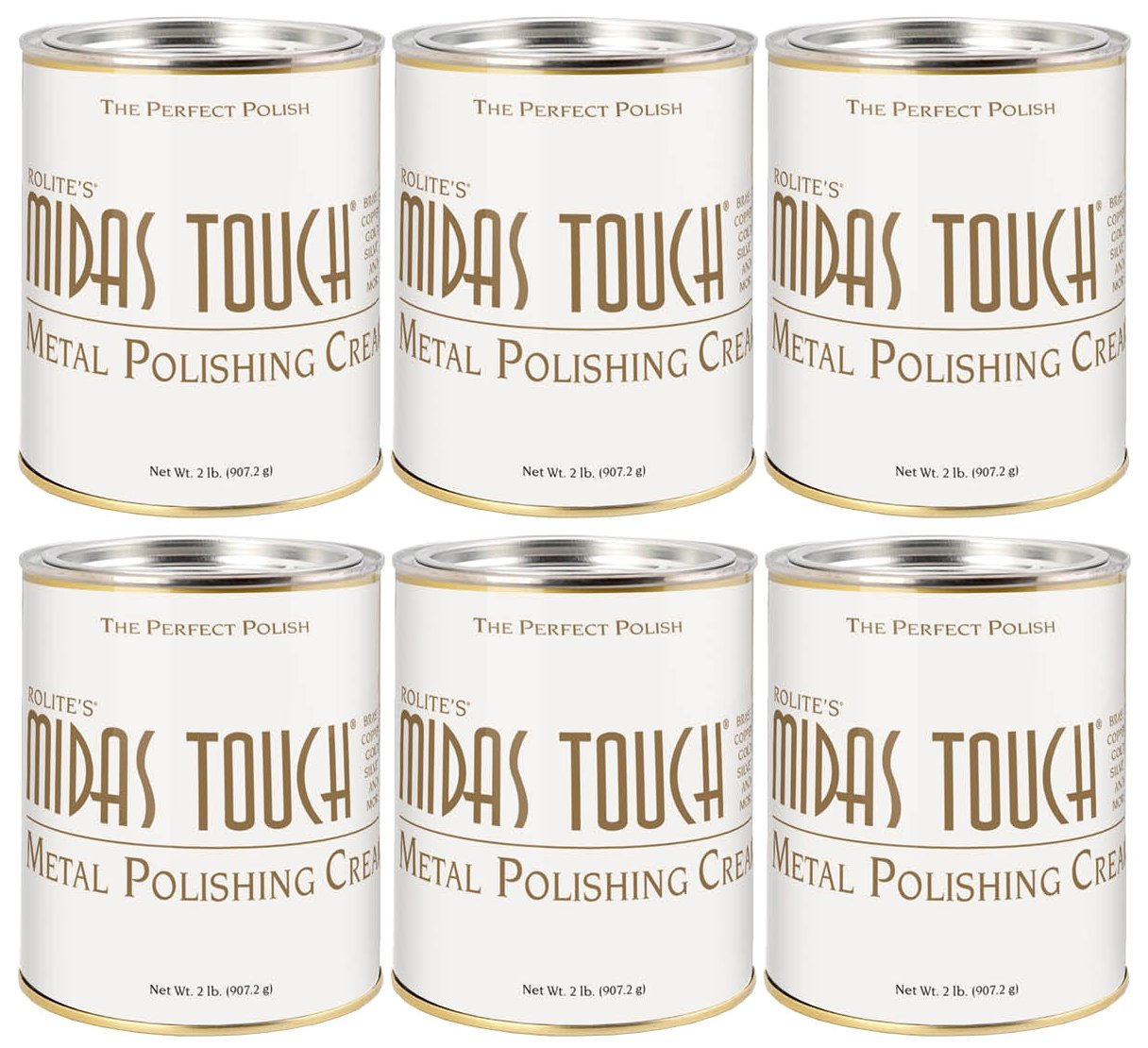 Midas Touch Metal Polishing Cream – 2lb, Cleaner & Polishing Rouge for Sterling Silver, Gold, Brass & Other Metals, 6pack, by Rolite