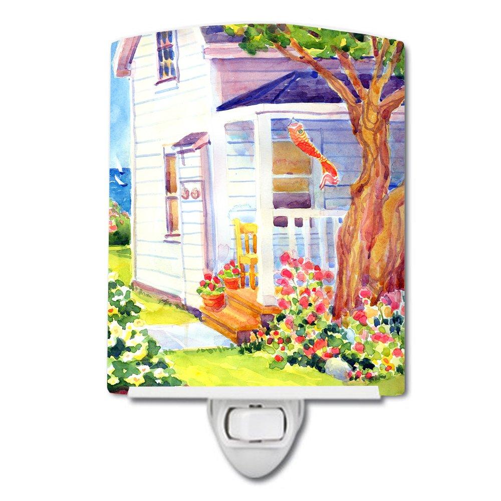 Carolines Treasures White Cottage at The Beach Ceramic Night Light 6x4 Multicolor