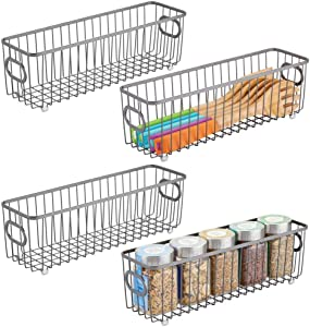 mDesign Metal Farmhouse Kitchen Pantry Food Storage Organizer Basket Bin - Wire Grid Design for Cabinets, Cupboards, Shelves, Countertops - Holds Potatoes, Onions, Fruit - Long, 4 Pack - Graphite Gray