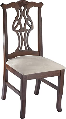 Wooden Side Chair – Fully Assembled Solid Beech Wood Chair in Medium Oak with Padded Cream Micro Suede Seat and Sturdy Backs for Kitchen, Home or Commercial – BSD-36SV-MO by Beechwood Mountain