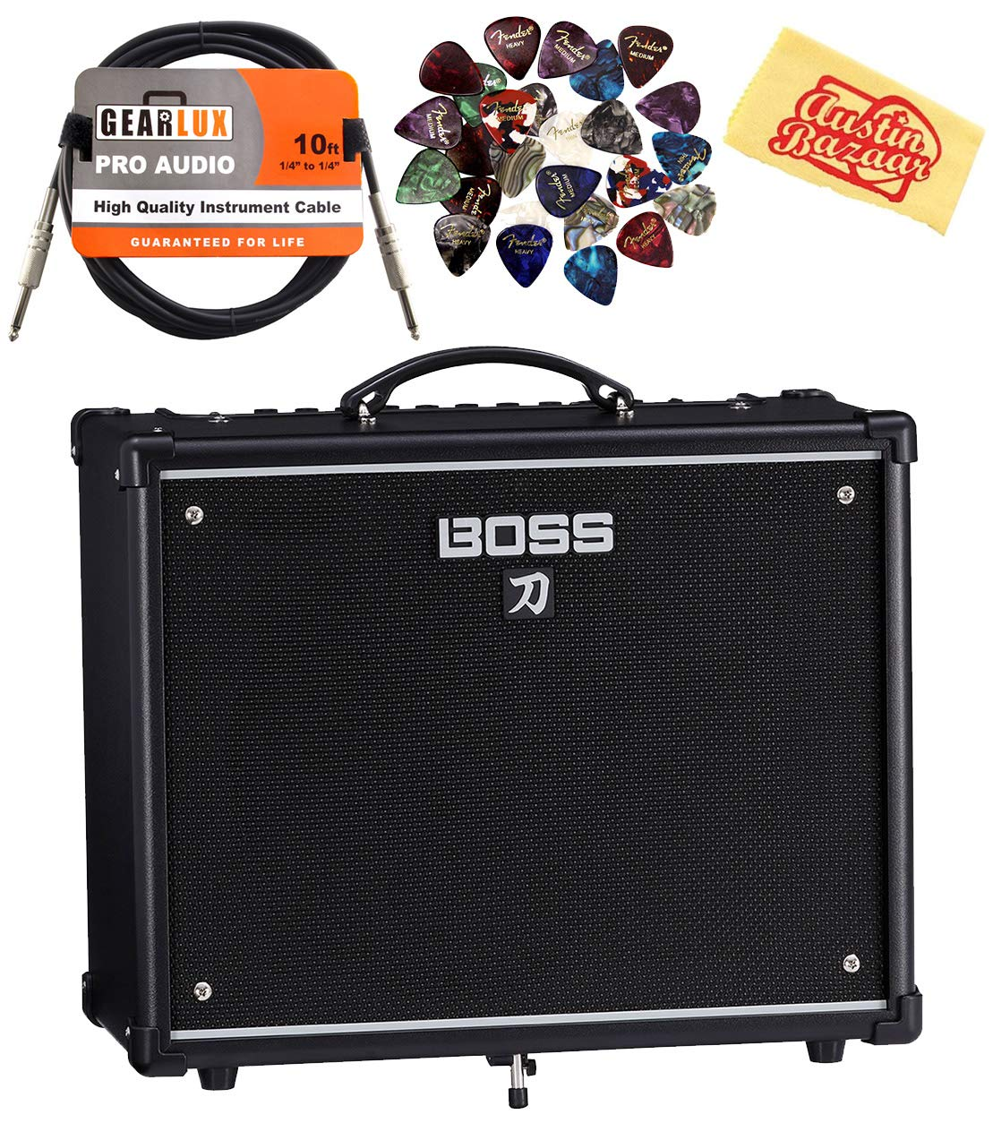 Boss Katana 50-Watt 12-Inch Guitar Combo Amplifier Bundle with Instrument Cable, 24 Picks, and Austin Bazaar Polishing Cloth by Boss
