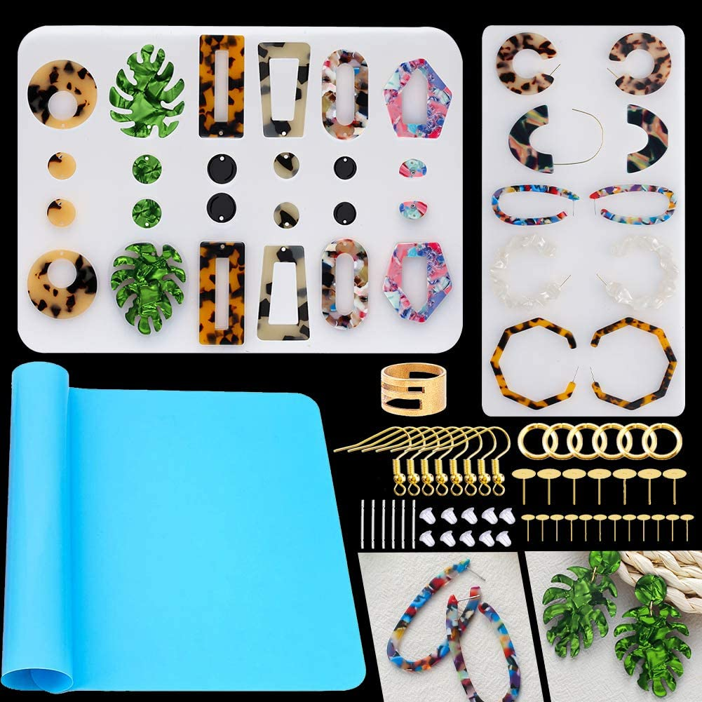 Amazon Com Earring Resin Molds Casting Molds Tools Set Including Earring Hooks Jump Rings Head Eye Pins For Resin Jewelry Resin Crafts Diy Arts Crafts Sewing
