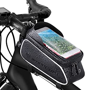 Bike Frame Bag, Bicycle Phone Holder, Waterproof Cycling Front Top Tube Pouch Bike Frame Phone Mount Pannier Crossbar Storage Bag for iPhone 11 Pro MAX XS MAX XR X 8 7 6 6S Plus Smartphone Below 6.5''