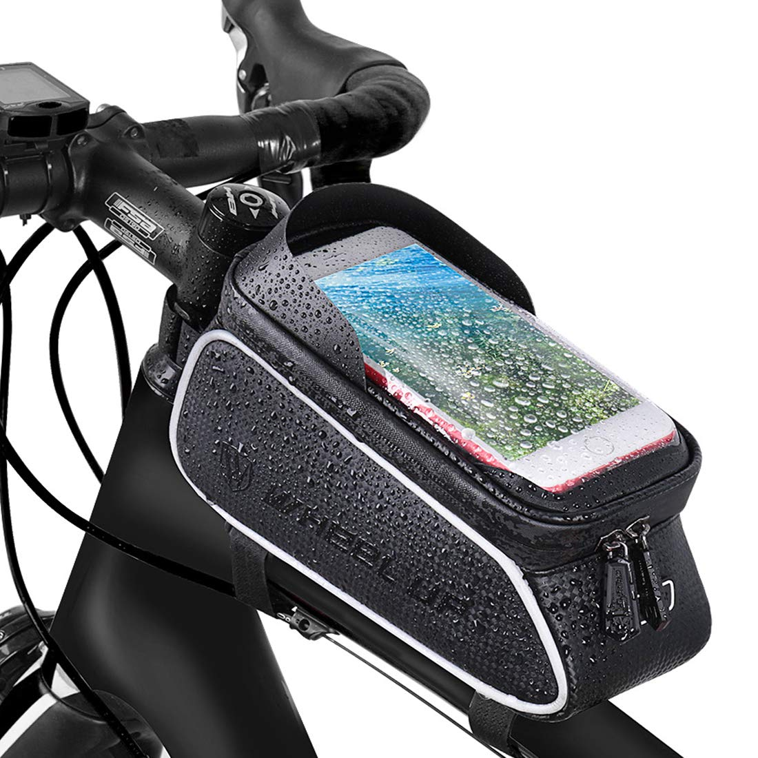 6 Touch Screen Bike Handlebar Bag Waterproof Bicycle Phone Holder Bag Cycling Pouch Pannier Bike Phone Holder Stand for iPhone 11 XS MAX XR X 8 7 6 6S Plus Samsung LG Sony HUAWEI Xiaomi Smartphone