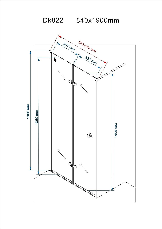 transparent /120/x 190/cm. Duschkabinent/ür Doppelfaltt/ür aus Sicherheitsglas transparent 80/