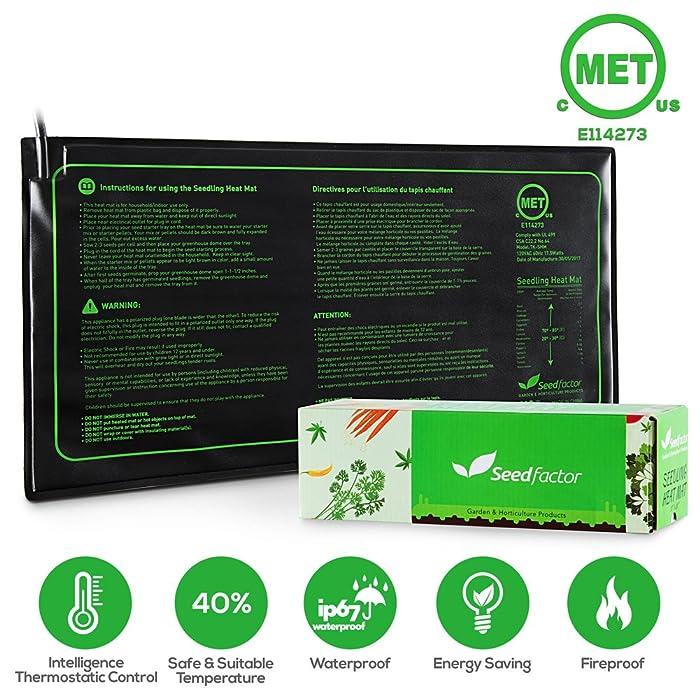 "MET Certified 2 Pack Seedling Heat Mat, Seedfactor Waterproof Durable Germination Station Heat Mat, Warm Hydroponic Heating Pad for Indoor Home Gardening Seed Starter(10"" X 20"")"