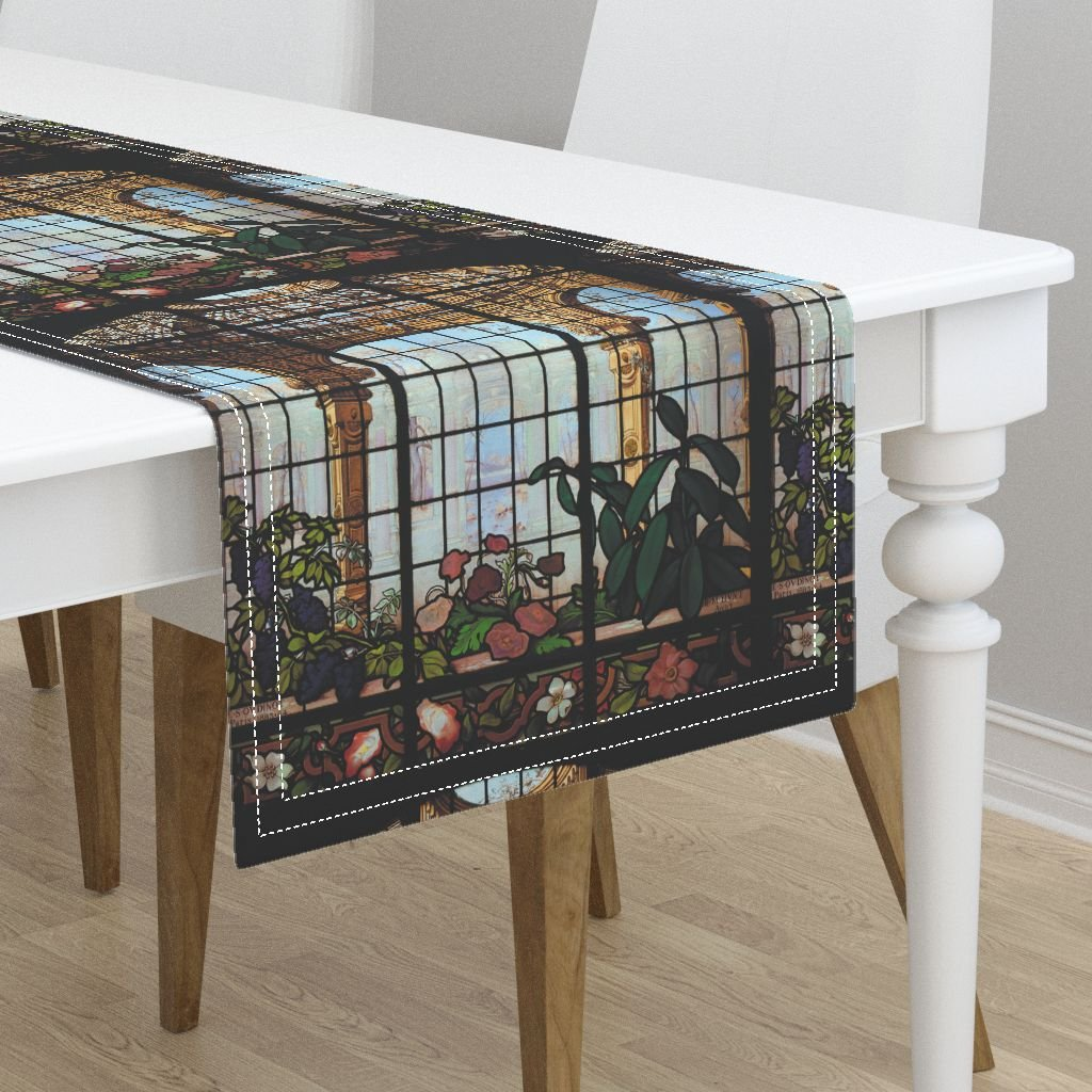 "Table Runner - Trompe L Å""Il Trompe L Oeil Faux Window Stained Glass by Peacoquettedesigns - Cotton Sateen Table Runner 16 x 72"