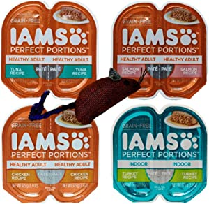 Iams Perfect Portions Grain Free Pate Cat Food 4 Flavor 8 Can Variety with Toy Bundle, (2) Each: Tuna, Chicken, Salmon, Turkey - 2.6 Ounces (8 Cans Total)