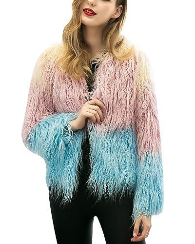 Mujeres Color Mezclado Elegante Cálido Abrigo Largo Corto Chaqueta Outwear