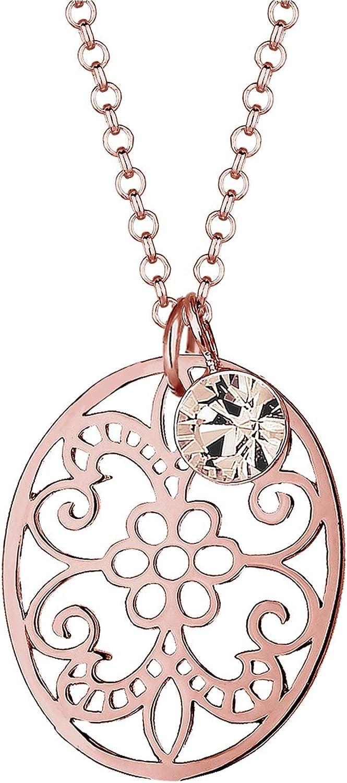 Elli Mujer Plata de ley 925bañado en oro de Rosé adorno cristal de Swarovski collar de 45cm 0110642215