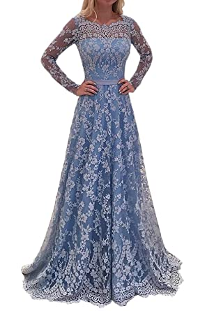 MARSEN Womens Sexy Halter Backless Prom Dress Long Beaded Chiffon Evening Gown Blue Size 2