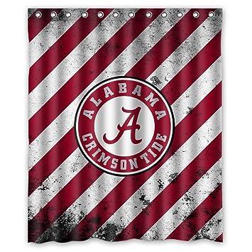 Custom NCAA Alabama Crimson Tide Design Waterproof Polyester Fabric Bathroom Shower Curtain 60 Inch X 72