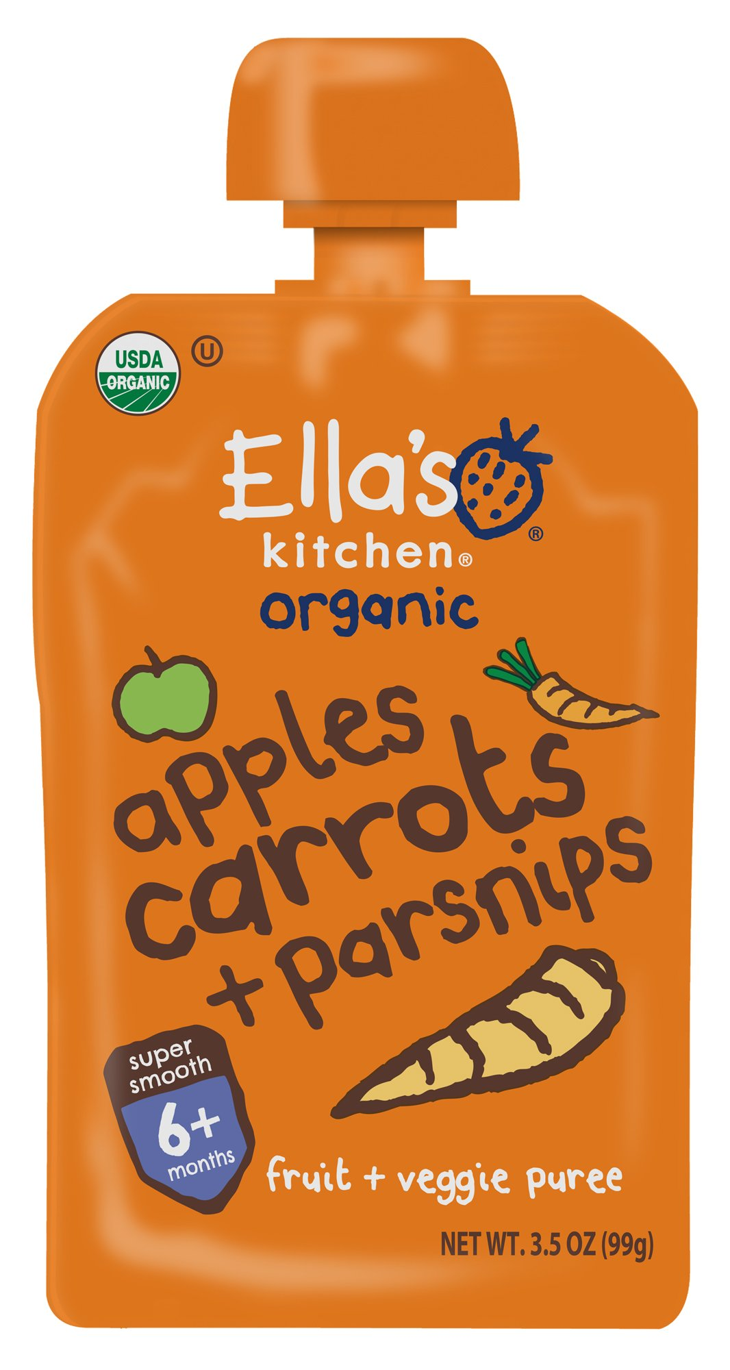 Ella's Kitchen Organic 6+ Months Baby Food, Apples Carrots and Parsnips, 3.5 oz. Pouch (Pack of 6)