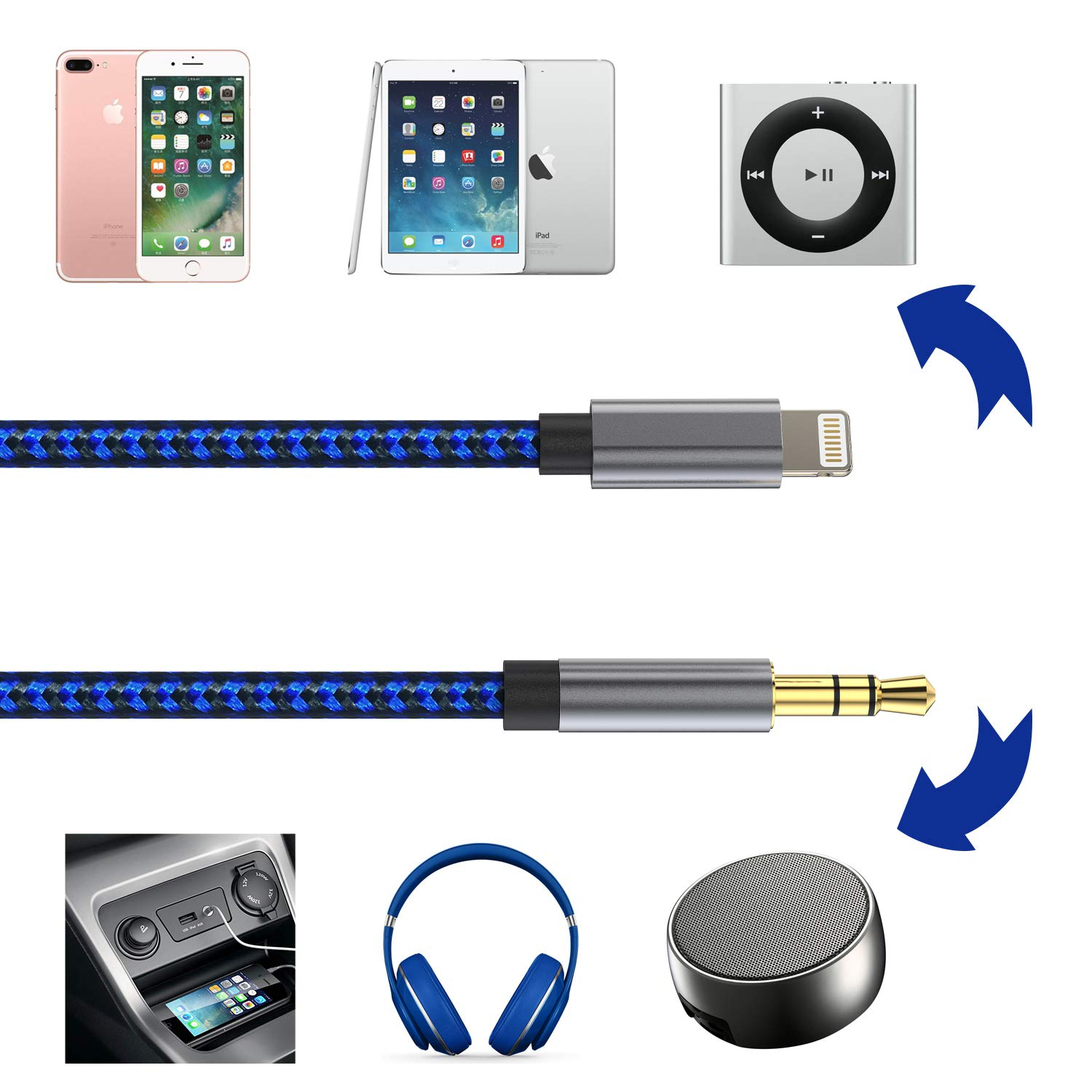 6.6Feet//Black 6ft Lengthened Car aux Cord for iPhone Audio Aux Cable for Car for iPhone Compatible with X//XS//XS MAX//XR//8//8P//7//7P,Support The Latest iOS System Include iOS 10//11//12 and Above 6