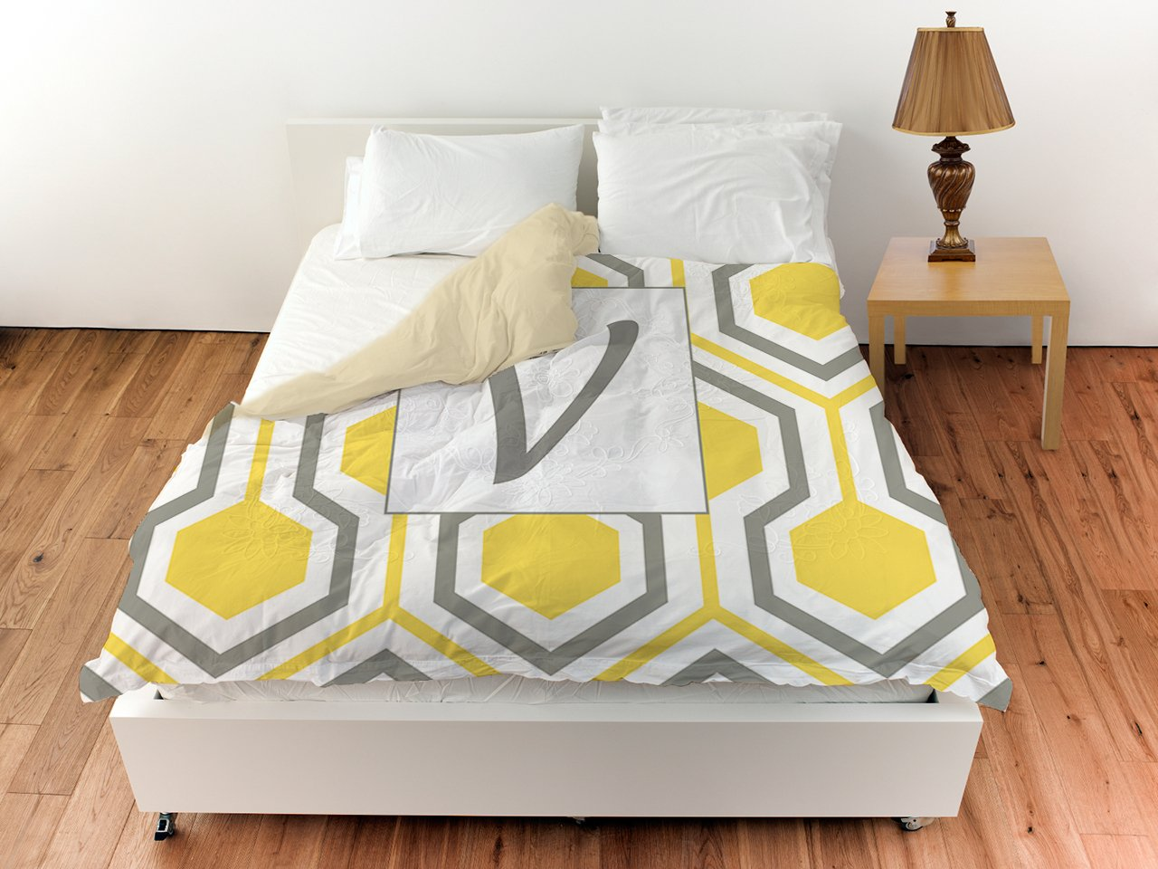 Manual Woodworkers & Weavers Duvet Cover, Twin, Monogrammed Letter V, Yellow Honeycomb