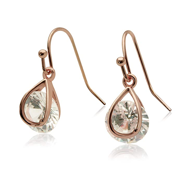 Amazon.com: Jessica McClintock Rose Gold Drop Earrings with Caged Cubic Zirconia Crystal: Jewelry