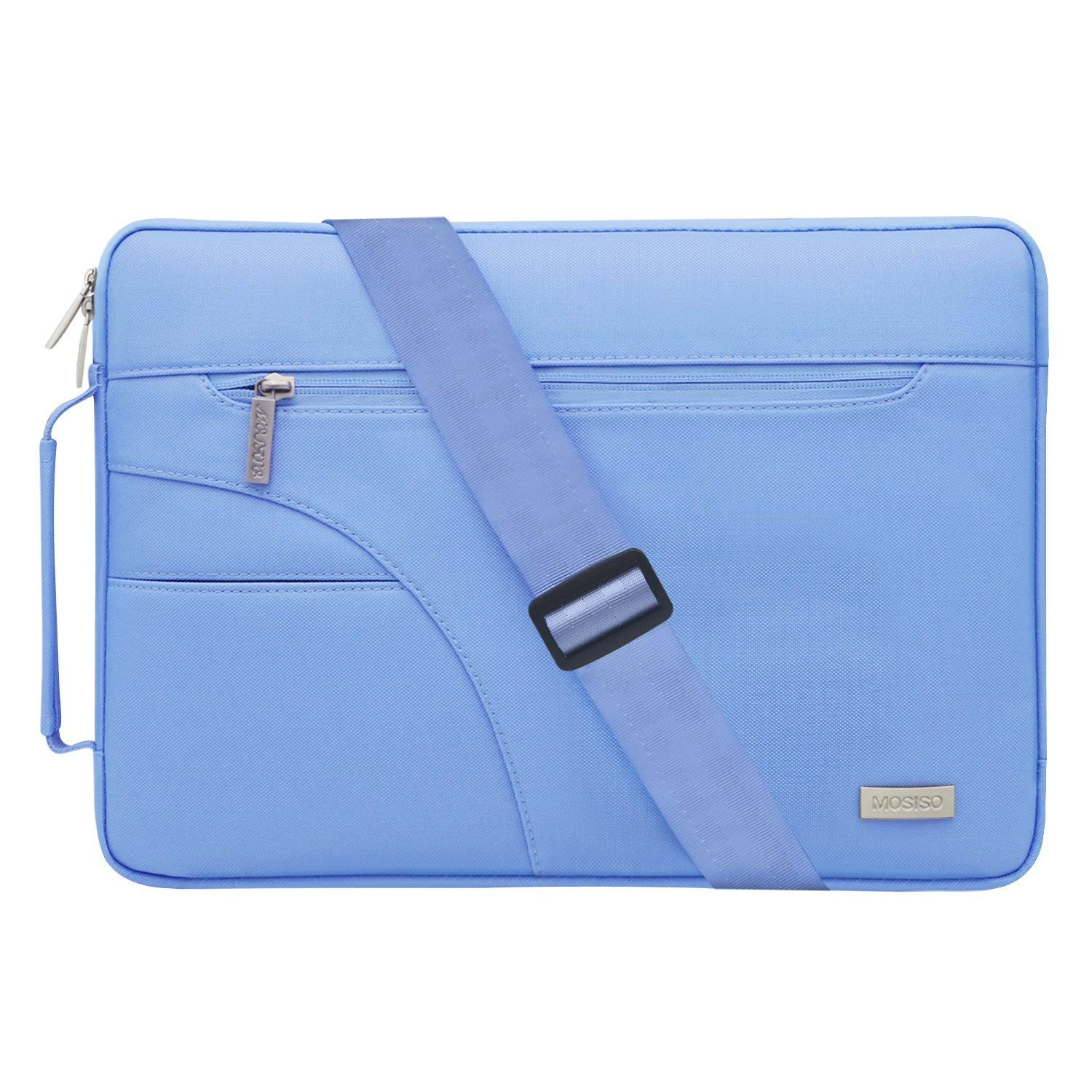 MOSISO Laptop Shoulder Bag Compatible 11-11.6 Inch MacBook Air, Ultrabook Netbook Tablet, Polyester Ultraportable Protective Briefcase Carrying Handbag Sleeve Case Cover, Black & Hot Blue