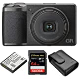 Ricoh GR III Premium Compact Digital Camera with Spare Original DB-110 Battery, Soft Case and 64GB Extreme PRO SD Card (3 Ite