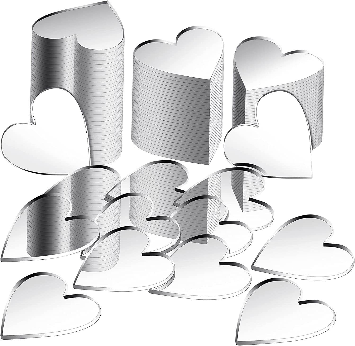 100 Pieces Heart Mirror Mini Size Heart Mirror Tiles Small Heart Mirror, DIY Mosaic Mirror Circles Tiles for Arts and Crafts Projects, Traveling, Framing, Room Home Decor